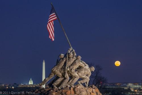 Moonrise at Iwo Jima Monument