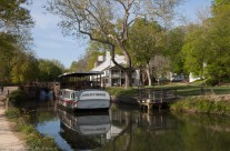Canal boat and tavern